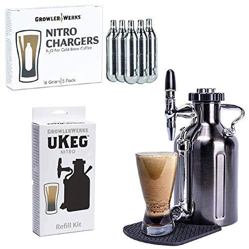 GrowlerWerks uKeg Nitro Cold Brew Coffee Maker, 50 oz, Black Chrome, Refill Kit, 5 Nitro Chargers