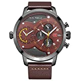 Mens Watches of Sports Chronograph, Dual Time Running Brown Leather Band Waterproof Wrist Dress Watch with Date Calendar