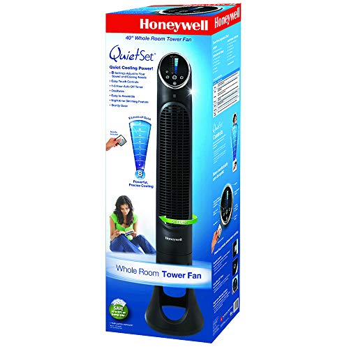 Honeywell HYF290BC QuietSet Whole Room Tower Fan, Black, with Oscillation, Remote Control, Slim Profile