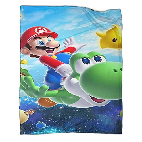 DRAGON VINES Juego Manta Super Mario Bros Mario Luigi Manta de siesta cálida manta súper suave para niños 180 x 230 cm