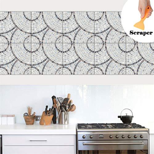 Hiser 10 Piezas Pegatinas de Baldosas para Baño y Cocina, Impermeable Azulejos Pegatinas Adhesivo Decorativo para Azulejos Pegatina de Pared (Gris,20x20cm)