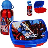 alles-meine.de GmbH 2 TLG. Set: Trinkflasche + Lunchbox / Brotdose - Avengers - BPA frei - mit extra Einsatz / herausnehmbaren Fach - Brotbüchse Küche Essen - für Jungen Junge - ..