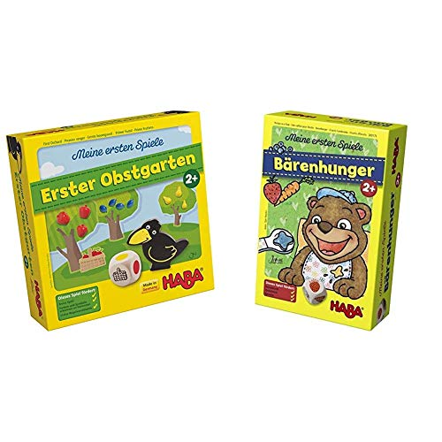Haba 4655 - Meine ersten Spiele Erster Obstgarten, unterhaltsames Brettspiel rund um Farben und Formen ab 2 Jahren & Meine ersten Spiele – Bärenhunger | Lustige Spielesammlung für 1-3 Spieler