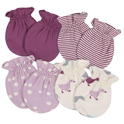 Grow by Gerber Baby Girls Organic 4-Pack Mittens, Pink/Ivory, Newborn