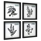ArtbyHannah 4 Pack 12x12 Inch Black Kitchen Frames Wall Art Decor for Dining Room,Framed Canvas Pictures Artwork Gallery Wall Kit for Home Decor(No Glass Cover)