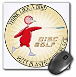 3dRose mp_19246_1 8 x 8-Inch Think Like A Bird 1 red Bird Throwing Frisbee disc Golf Putter Mouse Pad