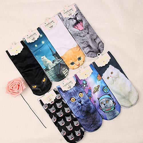 MIWNXM 10 PaareIndependent PackagingSocks Cartoon Cat Series Boat Socks Fashion Personality Socks