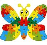 Scrox 1x Puzzle 26 Letras Dibujos Animados Animal Colorear Rompecabezas Madera Tabla Juguetes educativos DIY Ensamblaje Juguetes niños (Abeja)
