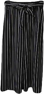 Fashring Women's Long Pant Elastic Waist Striped Print Tie Loose Summer Youga Legging Pants