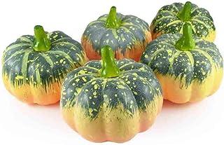 GuCra Artificial Fruit Vegetable, Small Pumpkin 5 pcs Pack, Fruit Vegetable Model Green-2