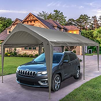 Sunnyglade 10x20 Ft Heavy Duty Carport Canopy Outdoor Portable Garage Tent Boat Shelter with 6 Legs for Outdoor Party Wedding Birthday Garden Boat,Dark Grey