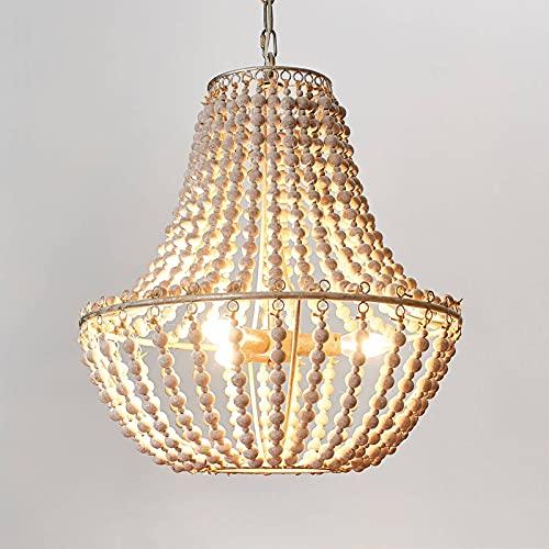 Lámpara de araña 'Juliette' en Blanco hecho de Madera e.o. para Salón & Comedor (3 llamas, E14, A++) de Lindby | lámpara colgante, lámpara colgante, lámpara de araña, lámpara, lámpara de techo