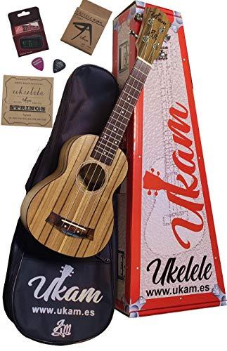 Ukelele Soprano 21' Nogal UKAM mod.AM-HT100-1, con afinador tipo pinza, cejilla especial ukelele, funda acolchada con correa, juego de cuerdas extra y púas. Pack de iniciación de alta calidad.
