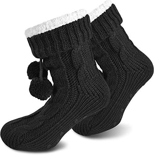 normani Damen Socken mit ABS Sohle Innenfell Extra Dicke Haussocken Anti Rutsch Sohle Farbe Schwarz Größe 36/40
