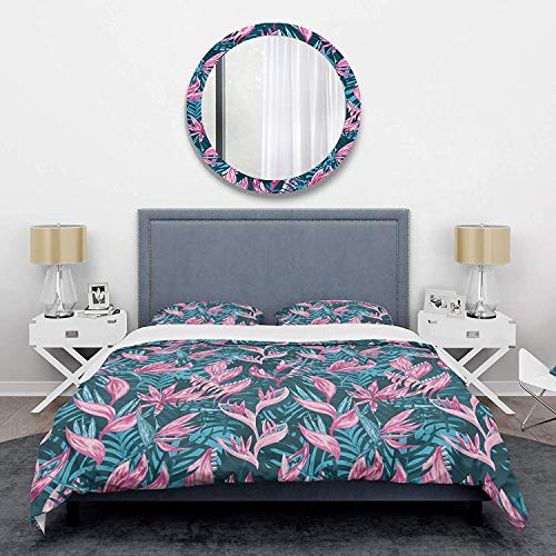 Duvet Cover 3 Piece Set Ultra Soft Microfiber Bedding Set Handdrawn Tropical Flowers Mid-Century Design