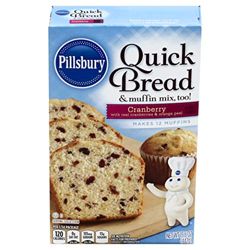 Pillsbury Cranberry Flavored Quick Bread & Muffin Mix, 15.6-Ounce (Pack of 12)