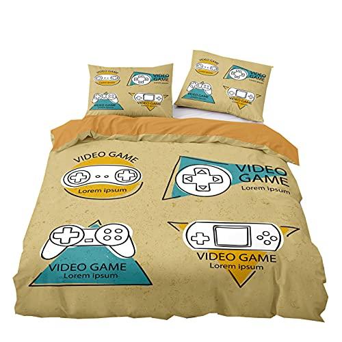 Stillshine. Consola de Juego Juego de Ropa de Cama 3 Piezas Funda Nórdica Cama 3D Gamepad Gamer Video Game Juego de Funda de Edredón Chico Niño Adolescentes (Color 5,220 × 240 cm)