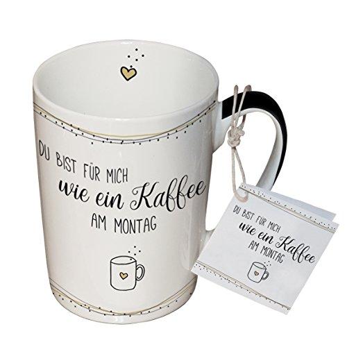 PPD Tasse en Porcelaine pour Lait, Café, Thé – Tasse pour Petit Déjeuner 'Kaffee am Montag' 0,25l.