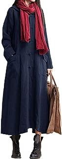 Women Boho Maxi Autumn Long Dress Retro Hooded Casual Cotton Linen Dress