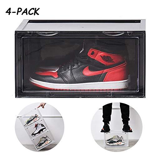 JIA Xing Schuh-Aufbewahrungsbehälter-große Größe 4 Stück transparenter Kunststoff stapelbare Schuhregal-Schrank oder Bett Aufbewahrungsbox Aufbewahrungsbox (3 Farben) schuhbox (Color : Black)