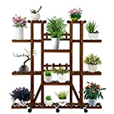 GOUTIME Wood Plant Stand with Wheels for Indoor Outdoor, Plant Display Multi Tier Flower Pot Shelves Stands for Living Room Office Patio Balcony Garden (6 Tier)