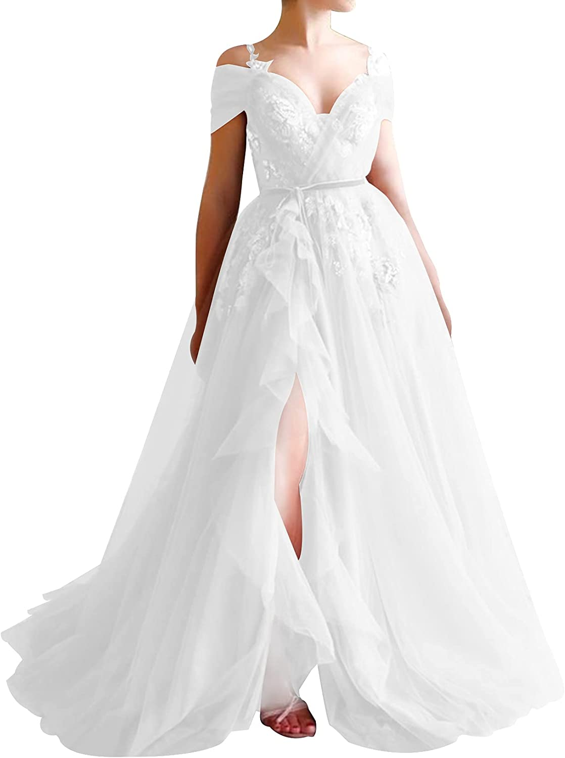 Wedding Dress Tulle Bridal Gowns V Neck Bride Dresses with Split Lace Wedding Gown