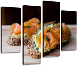 Smoked Salmon and Avocado Sandwich Canvas Wall Art Hanging Paintings Modern Artwork Abstract Picture Prints Home Decoration Gift Unique Designed Framed 4 Panel