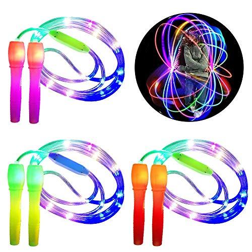 WENTS Glowing Springseil Kinder 2 in 1 Fitness Springseil Leuchten Spielzeug Glow in Dark Blinkendes Geschenk für Kinder Erwachsene Party, Fit bleiben, Gewichtsverlust, 3pcs
