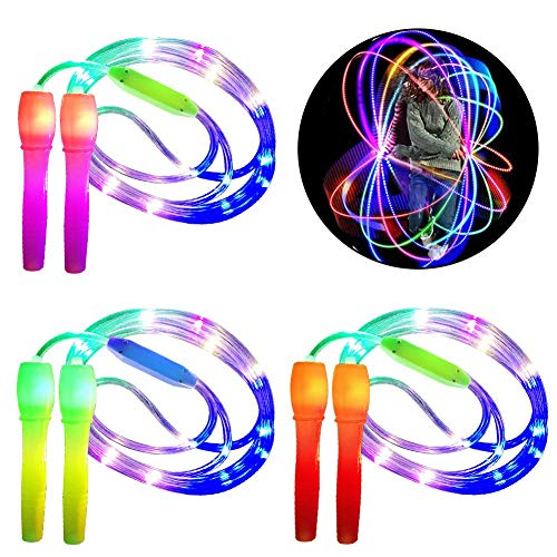 WENTS Glowing Springseil Kinder 2 in 1 Fitness Springseil Leuchten Spielzeug Glow in Dark Blinkendes Geschenk für Kinder Erwachsene Party, Fit bleiben, Gewichtsverlust, 3pcs
