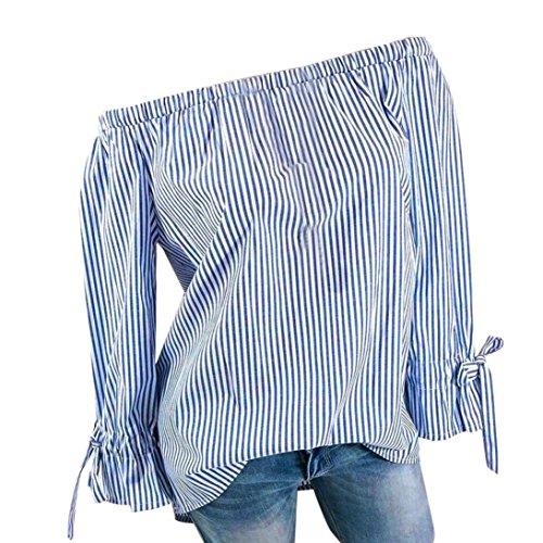 BHYDRY Womens Fashion Langarm Bluse Streifen Drucken Sexy Shirts Schulterfrei Tops (5XL,Blau)