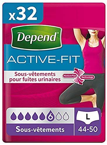 Depend Active Fit 8 Sous-vêtements Femme (6 gouttes) Taille L pour Fuites Urinaires et Incontinence - Lot de 4