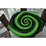 Elastic Edged Polyester Fitted Tablecloth,Digitally Generated Swirling Decreasing Figure with Vibrating Lights Art Print Tablecloth,Fits Oval/Olbong Tables 48x68',for Indoor and Outdoor Events Green