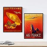 Nacnic Posters Vintage. Posters Publicidad del Mundo. Dos láminas Vintage de Air France. Tamaño A3