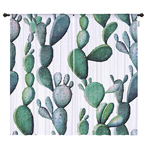 Price comparison product image Moslion Cactus Window Curtains Watercolor Tropical Cactus with Thorns Garden Plant Black Out Window Treatment Curtains Polyester 2 Panels for Kitchen Bedroom 54x96 Inch Green