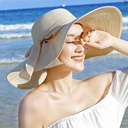 Sonnenhut schützt die Sonne vor ultravioletten Strahlen.Mode beige Wilde Elegante geflochtene Hut breite Krempe Bikini Sonnenbad faltbar für einfaches Tragen
