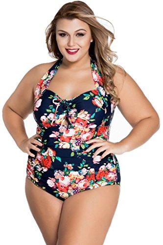 Chase Secret Womens Halter Retro High Waisted Bikini Ruched Swimsuit Floral Monokinis Plus Size XXX-Large