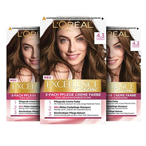 L'Oréal Paris Excellence Creme Permanente Haarfarbe, 100% Grauhaarabdeckung, Haarfärbeset mit Coloration, Shampoo und 3-fach Pflegecreme, 4.3 Goldbraun, 3 x 268 g