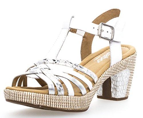 Gabor Damenschuhe 82.736.51 Damen Sandaletten, Sandalen, Sommerschuhe, Strandschuhe, mehr Raum Dank Comfort-Mehrweite Weiss (Weiss/silb.(ba.st)), UK 6