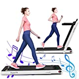 GYMAX 2 in 1 Folding Treadmill, 2.25HP Under Desk Electric Pad Treadmill, Portable Walking Jogging Running Machine, Motorized Flat Treadmill with Audio Bluetooth Speakers, Remote Controller (White)