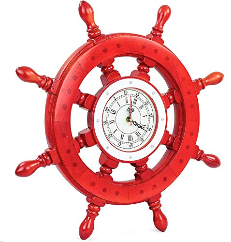 Red Ship Wheel   Nautical Pirate's Premium Polished Boat Steering Ship Wheel Wall Clock   Premium Gifts Home Decor Ideas   Handcrafted Wooden Ship Wheel - Home Wall Decor (Hell Boy) (24 Inches)