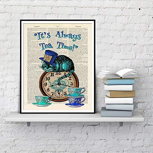 N / A Es ist Immer Tee Zeit Wörterbuch Kunst Malerei Alice im Wunderland Katze Home Decoration Poster und Print Leinwand Malerei Rahmenlos 50X70cm
