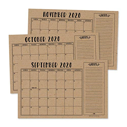 """Rustic 2020-2021 Large Monthly Desk or Wall Calendar Planner, Big Giant Planning Blotter Pad, 18 Month Academic Desktop, Hanging 2-Year Date Notepad Teacher, Mom Family Home Business Office 11x17"""""""