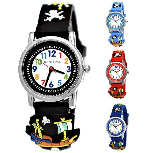 Pure Time® Kinder Uhr Jungenuhr Mädchenuhr Silikon Kautschuk Schul Uhr Jungen Mädchen Armbanduhr Uhr mit 3D Piraten Totenkopf Sport Lern-Uhr Schul-Uhr Blau Grün Türkis Schwarz Rot (PT.3_)