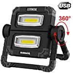 LED Work Light Rechargeable Folding Flood Light Portable Outdoor Stand Work Lights with 360° Rotatation Black 2
