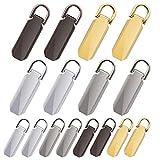 Kulannder 16 Stück Reißverschluss Pull Tabs Ersatz Reißverschluss Reparatur Ersatzteile Heavy Duty Zip für Handwerk Kleidung, Gepäck, Koffer, Rucksack, 2 Größen, 4 Farben.