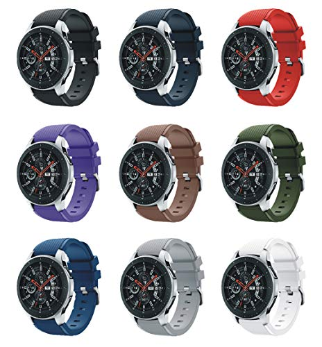 XingWangFa for Samsung Galaxy Watch (46mm) Straps Correas[9 Pack] 22mm Soft Silicone Sport Correa Replacement Strap For Samsung Galaxy Watch (46mm) SmartWatch