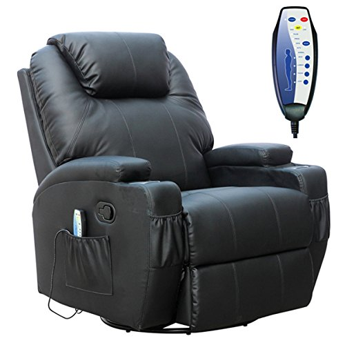 WestWood Bonded Leather Massage Cinema Recliner Sofa Chair Armchair Swivel Rocking With Heating Function Cup Holder Black
