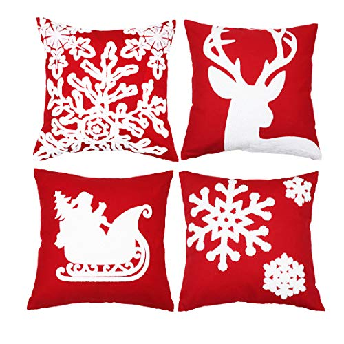 Red and White Throw Pillow Case