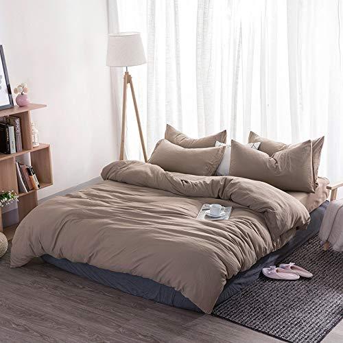 BH-JJSMGS Leichter Bettbezug aus Mikrofaser mit Reißverschluss, leichte Bettwäsche, weiches, atmungsaktives, vierteiliges Bettwäscheset, 200 * 230 cm braun 1