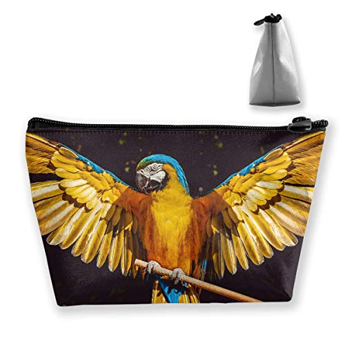 Yellow Parrot Wings Feathers Makeup Bag Large Trapezoidal Storage Travel Bag Wash Cosmetic Pouch Pencil Holder Zipper